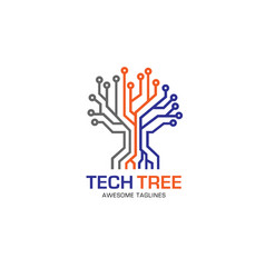 Tech tree logo concept vector