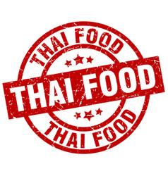 thai food round red grunge stamp vector image