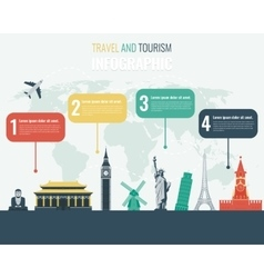 Travel and Tourism Infographic set with landmarks vector