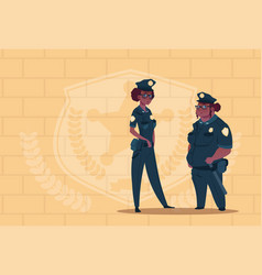Two african american police women wearing uniform vector