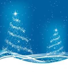 two blue Christmas trees vector image
