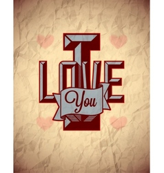 Vintage sign of love on aged crumpled paper vector image