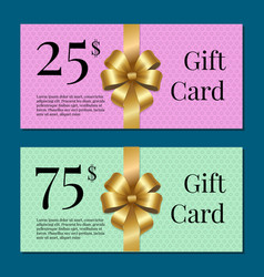 Voucher on 25 -75 set of posters gold tags label vector