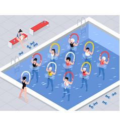 Water aerobics class isometric vector