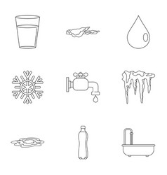 Water icon set outline style vector