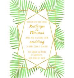 Wedding tropical invitation card vector