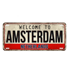 Welcome to amsterdam vintage rusty metal plate vector