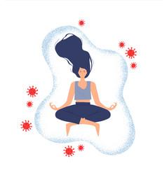 woman doing yoga protected against coronavirus vector image