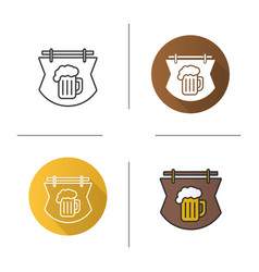 Wooden bar signboard icon vector