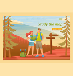 young people use map in forest vector image