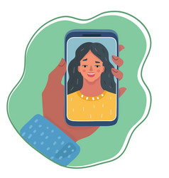young smiling girl on display smartphone vector image