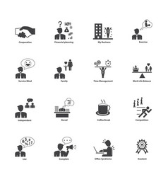 business people activities icons set vector image