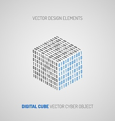 Cube created of numbers 1 and 0 digital technology vector