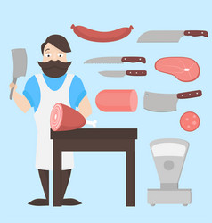 flat butcher shop design elements and icons meat vector image