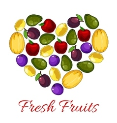 Fresh fruits poster with fruit heart shape vector image