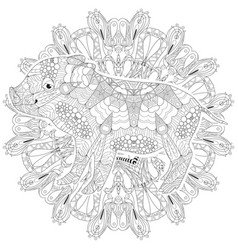 piggy coloring book for adults with mandala vector image