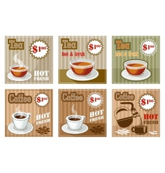 Set of coffee and tea menu card vector image
