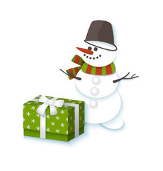 snowman in bucket scarf and present box vector image