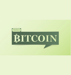 bitcoin banner isolated on light green background vector image vector image