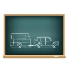 Camp car drawn on blackboard vector
