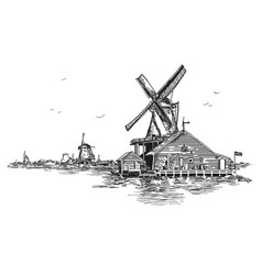 llustration watermill in amsterdam vector image vector image
