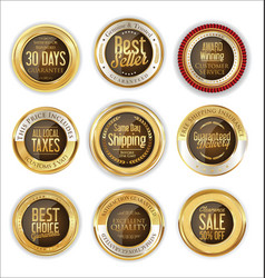 luxury gold and brown badges collection vector image vector image