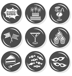 Party time icon set vector image vector image