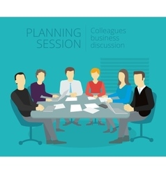 Planning session People work at the table vector image vector image