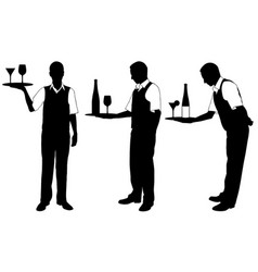set of different waiters with trays vector image