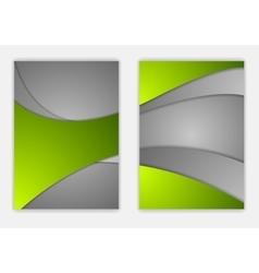 Abstract green grey wavy corporate flyer design vector