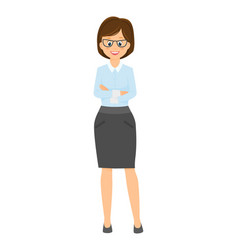 cartoon smiling businesswoman with arms crossed on vector image vector image