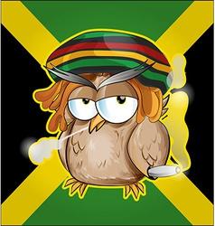 Rastafarian owl cartoon on jamaican flag vector image vector image
