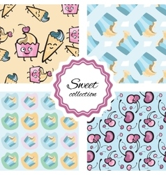 Seamless pattern with hand drawn cupcake vector