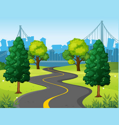 wavy road in the city park vector image