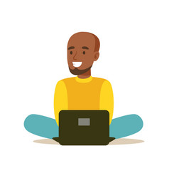 young man sitting on the floor and using laptop vector image vector image