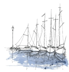 Boats on water harbor sketch transportation vector image vector image
