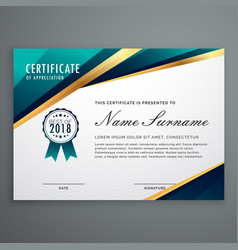 certificate design with luxury golden shapes vector image