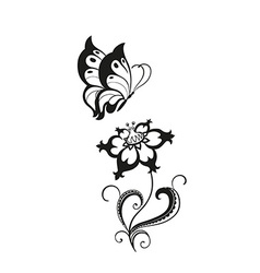 Decorative composition of curls flower and vector image vector image