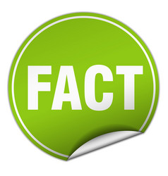 Fact round green sticker isolated on white vector