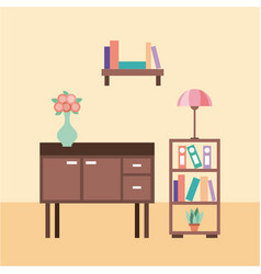 living room with furniture table lamp flower vase vector image