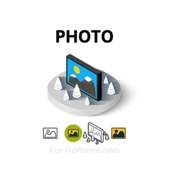 Photo icon in different style vector image