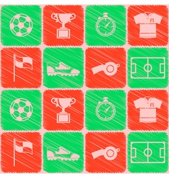 Seamless pattern with soccer icons vector image