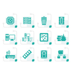 stylized computer and website icons vector image vector image