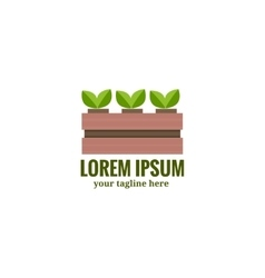Vegetable garden box with platn agriculture logo vector