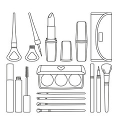 18 line art black and white make up elements vector image