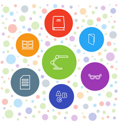 7 reading icons vector