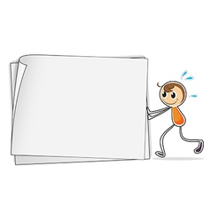 A boy pushing a big blank paper vector
