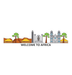 africa outline skyline african flat thin line vector image