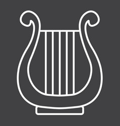Ancient greek lyre line icon music vector