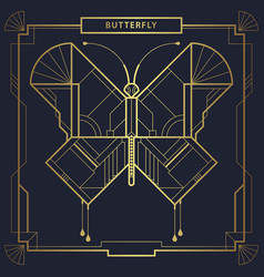 Art deco geometric butterfly vector